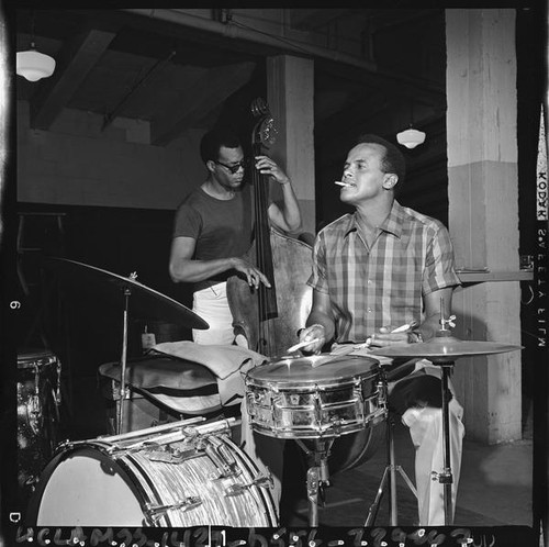 Harry Belafonte plays the drums