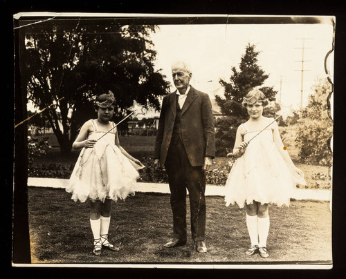 Luther Burbank with two young girls at time of Golden Jubilee Celebration, 1923