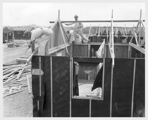 Poston, Ariz.--(Site # 3)--Barracks under construction at this War Relocation Authority center where evacuees of Japanese ancestry are spending the duration. Photographer: Clark, Fred Poston, Arizona