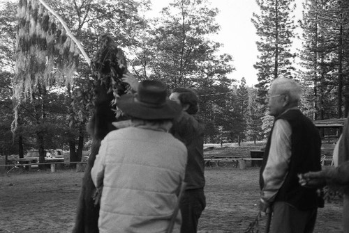 Frank Joseph and others--setting up bear skin and maple bark flag--(Bear Dance--Janesville--1979)