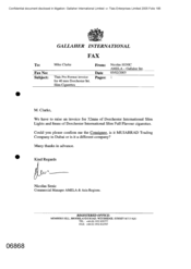 Gallaher International[Memo from Mike Clarke to Nicolas Senic regarding Tlais pro format invoice for 40 mns Dorchester Int Slim cigarettes]