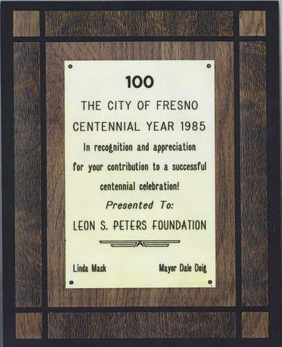 City of Fresno Centennial Celebration plaque