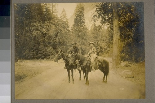 François Emile [and] Edith Lovell (Coyle) Matthes [on horses] at head of Yosemite Valley, starting for Merced Lake