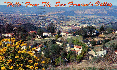 """Hello"" from the San Fernando Valley postcard, circa late 1950s"