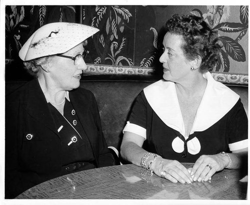 Librarian Ruth Hall with Bette Davis, Santa Rosa, California, September 12, 1955