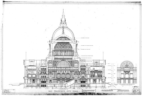 Calisphere transverse section on axis of building san francisco transverse section on axis of building san francisco city hall sections drawing no malvernweather Images