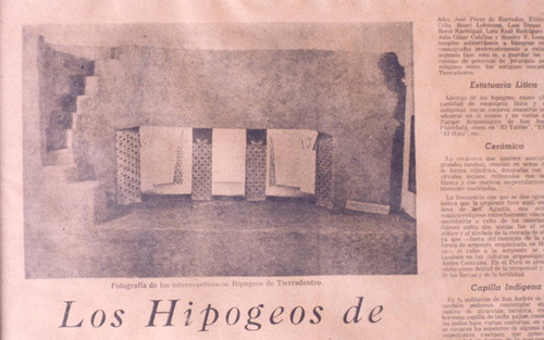 Newspaper coverage of one of the many hypogea, Tierradentro, Colombia, 1975