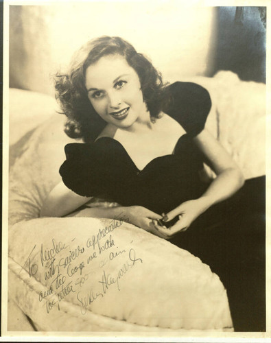 Headshot of Susan Hayward with dedication to Micky Moore