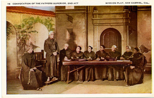 "Mission Play Collectors Postcards. Card 19: ""Convocation of the Fathers Superior, 2nd Act."""