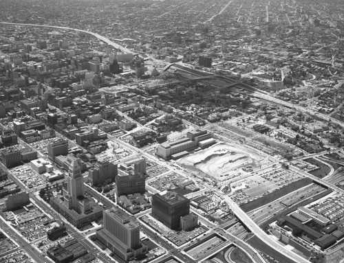 Aerial view of Downtown Los Angeles, looking southwest