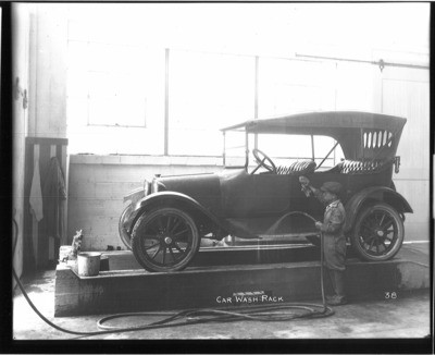 Automobile Industry and Trade - Stockton: Dodge Brothers, interior view of the car wash rack