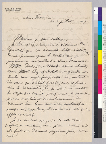Letter to A.C. Lawson from Comte de Montesas de Ballore: July 2, 1907
