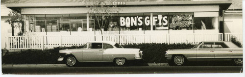 Calisphere: Cars parked in front of gift shop on PCH, ca  1970