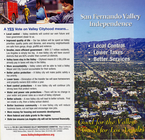 San Fernando Valley Independence Brochure (pages 1 and 8)