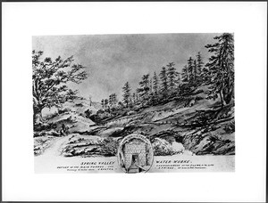 Drawing by Vischer of the Spring Valley Waterworks, San Mateo County, California, ca.1861