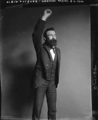 """Albert Putzker, German Dept., U.C., 1900,"" (appears to be a student impersonating Putzker), University of California at Berkeley. [negative]"