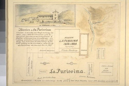 La Purissima [i.e. La Purisima]: Groundplan of mission and outbuildings [with sketch of mission in 1824]. Kindly given by Genl. M.G. Vallejo, Oct. 15, 1878. Thankfully acknowledged by E.V