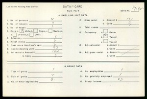 WPA Low income housing area survey data card 123, serial 19195