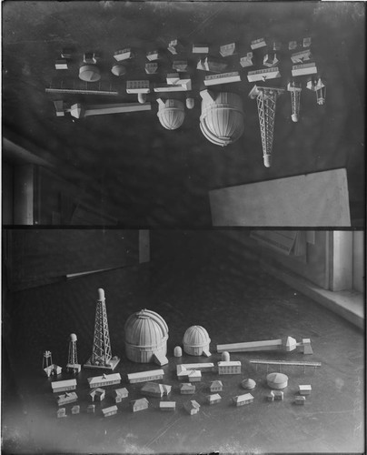Models of buildings for the model of Mount Wilson Observatory