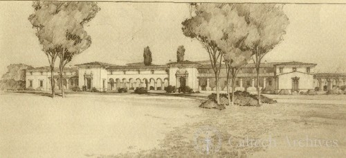 Campus elevation of proposed dormitories by Gordon Kaufmann