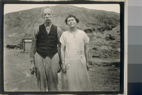 Calico. Mr. and Mrs. John Lane the sole survivors of a population of over 3000. Mr. Lane came in 1884 here he met the lady who became Mrs. Lane. They married and have been here ever since