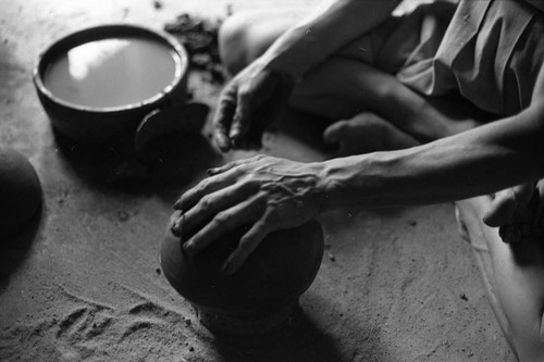 Artisan at work, La Chamba, Colombia, 1975