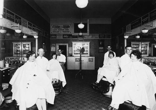 Barber Shop In Anaheim : ... : Higgins & Vanatta Barber Shop, Interior View, Anaheim [graphic