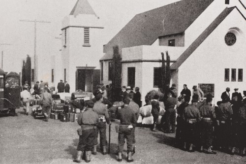 Evacuation of the Santa Maria Japanese to Tulare Assembly Center from the Christ United Methodist Church, 219 N. Mary Dr., Santa Maria : April 30, 1942