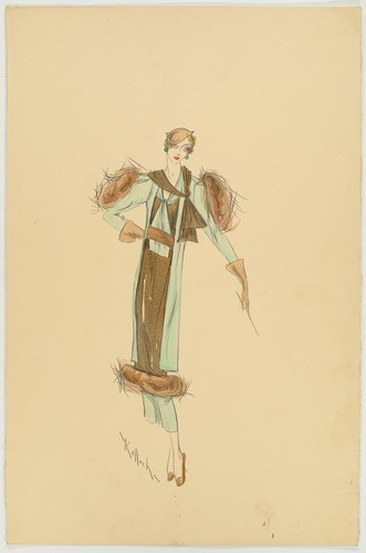 "Robert Kalloch design : light green and gold ensemble with fur trim at the shoulders and hem, signed ""Kalloch"""