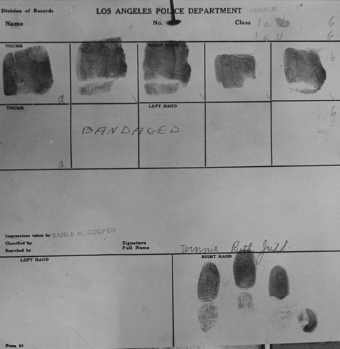Winnie Ruth Judd's fingerprint record