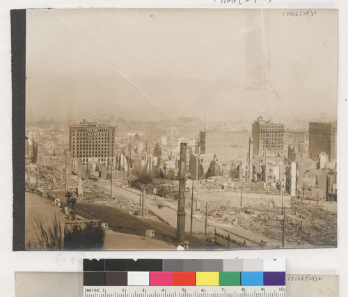 [Part 1 of 5 part panorama. From site of Mark Hopkins Art Institute, Nob Hill. Looking east. Mills Building in distance, left.]
