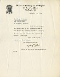 Fr. John Cantwell letter to Mary J. Workman, 1919 December 17