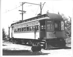 P&SR car #63 on electric tracks