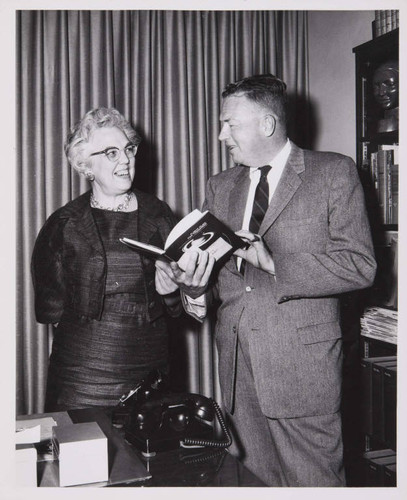 City Librarian Hilda Glaser with Crosby Maynard of Douglas Aircraft Company