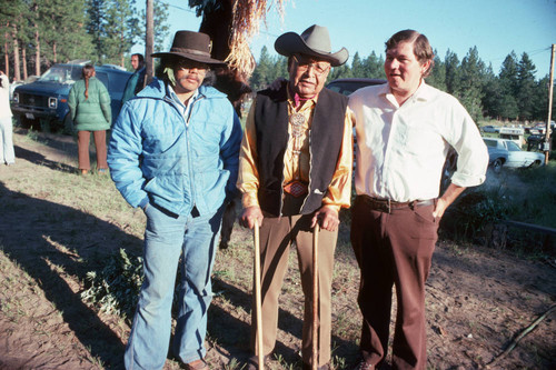 Frank Joseph (center) with Adrian Smith (right) and Frank LaPena (left) at the Janesville Bear Dance--1978