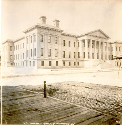 [Exterior view of old Mint building at Fifth and Mission street]