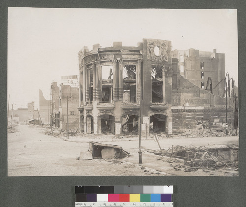 [Ruins of Tivoli Opera House, Mason and Ellis Sts. Native Sons of the Golden West monument at Market St. in distance, far left.]
