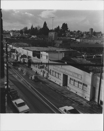 Businesses on Washington Street East, Petaluma, California, 1958