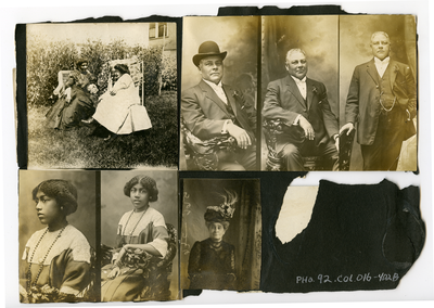 Scrapbook page with seven photographs: two women sitting in backyard, portrait of William T. Shorey, portrait of Julia Shorey [?], portrait of woman wearing decorative hat