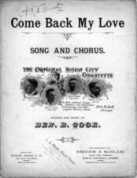 Come back my love / arranged by Geo. W. Hetzel ; words and music by Ben. R. Cook