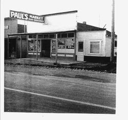Exterior of Paul's Market-Mean and Groceries, Graton, 1936
