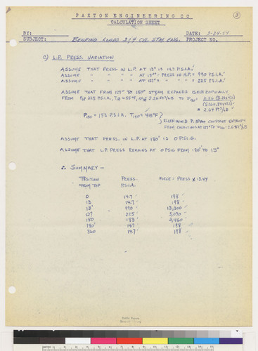 Paxton Engineering Co. Calculation Sheet, page 3, 1954