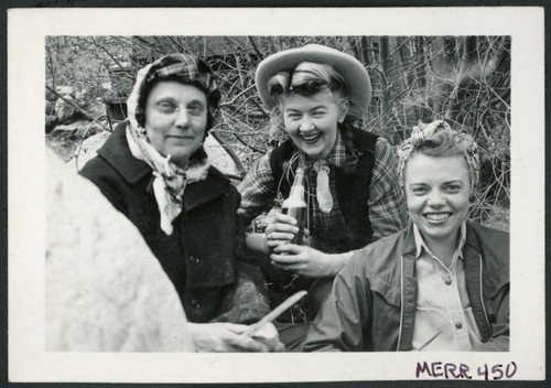 Photograph of Edna Anderson, Bernice Sibner, and Christine Little at a Manzanar hospital staff picnic
