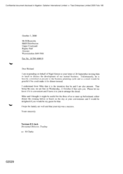 [Letter from Norman BS Jack to R Reynolds regarding invitation for discussion of the business development]