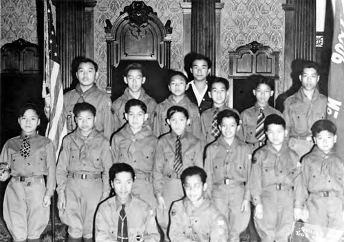 Chinese American Boy Scout Troop 108m at a meeting in the Westgate Masonic Lodge