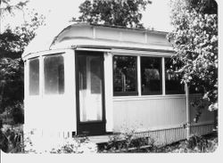 P&SR streetcar located near Analy High School that was used as a residence by Mrs. Vinnie Hampton in the 1950s and 1960s