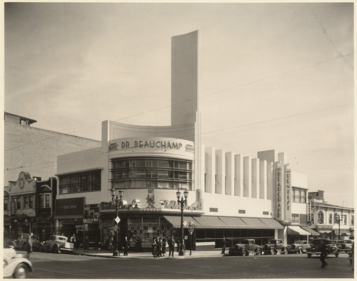 [Exterior full corner view Dr. Beauchamp Dentistry, Hollywood Boulevard and Cahuenga Boulevard, Los Angeles]