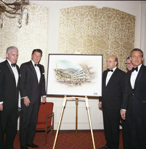 Ronald Reagan and others with Malibu campus rendering at Pepperdine's Birth of a College dinner, 1970