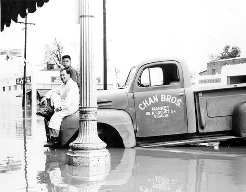 Chan Bros. Market truck in flood of 1955
