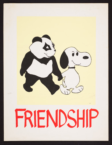 Friendship. Panda bear and Snoopy holding hands